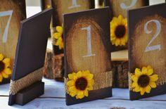 sunflower table numbers sunflower wedding by RedHeartCreations
