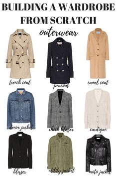 Here's how to build a wardrobe from scratch starting with your outerwear. Your capsule minimalist wardrobe is just one step away! style How to Build a Wardrobe from Scratch - MY CHIC OBSESSION Capsule Wardrobe Mom, Build A Wardrobe, Wardrobe Basics, New Wardrobe, Professional Wardrobe, Closet Basics, How To Have Style, My Style, Curvy Style