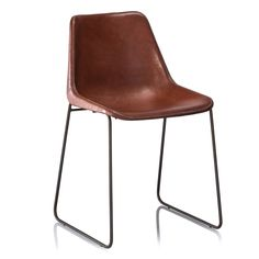 These simple and sturdy stitched leather dinning chairs are made with leather seat edges and are hand-sewn. The leather is bonded to a strong PVC base. The hand-welded matte black iron frame flows continuously from base to seat.