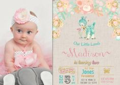 Our Little Lamb Birthday Party Invitation Invite Rustic VIntage Water Color Flowers Pink Peach Gold Mint with Picture Photo Pic