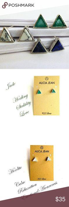 "Petite Gemstone/Sterling Silver Studs -  2  styles Sterling silver bezel surrounds triangular jade, or lapis lazuli.  Sterling silver posts.  The gemstone measures 3/8""   Customer rating:  ????? Alicia Jean Jewelry Earrings"
