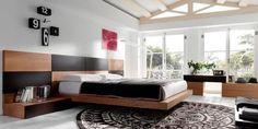 Dormitorio en madera y negro