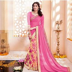 Pink half and half saree with floral base pleats