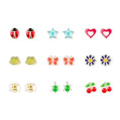 Bright Nature Inspired Stud Earrings Set of 9 | Claire's