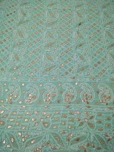Aqua Green Fabric with Chikan Embroidery, Zari and Gota Patti (Kurta Only)
