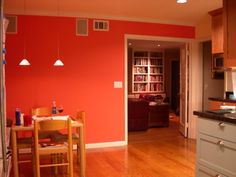 orange accent wall in kitchen | our home | pinterest | orange