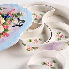 >> Click to Buy << ceramic five lattice fruit plate Candy Storage dish Dessert Snack Salad plate home decor wedding decoration handicraft figurine #Affiliate