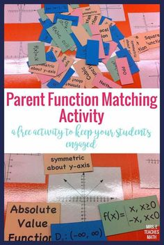 Parent Functions Matching Activity - Do you teach parent functions in Algebra This FREE matching activity is prefect for helping stu - Teaching Secondary, Teaching Math, Teaching Tips, Math Lesson Plans, Math Lessons, Math Writing, Math 2, Free Math, Algebra Interactive Notebooks