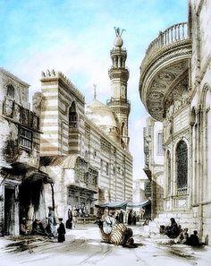 El Muez Street & Muhammad Ali's Sabil  Khanqah of Sultan al-Zahir Barquq  By Owen Browne Carter - British , 1806 – 1859