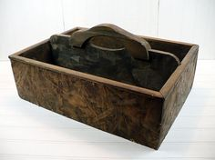 Vintage Wooden Tool Box Garden Tote With Handle Industrial Storage