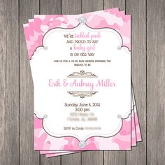 Pink Camo Bling Baby Shower Invitation by PaintingParisPink
