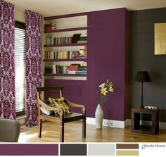 Cozy Interior Room Design Ideas With Purple Walls 26 Living Room Decor Purple, Purple Rooms, Living Room Color Schemes, Living Room Colors, New Living Room, Purple Home Decor, Purple Interior, Design Seeds, Purple Accent Walls