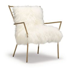 MGBW | ANSEL CHAIR BRASS -TIBETAN FUR | $1500 | don't argue with any woman sitting in this chair - EVER