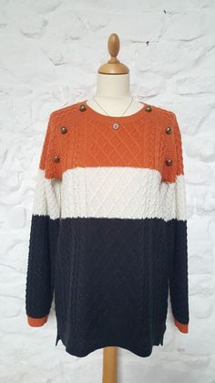 NEXT Ladies Stripes Jumper Sweater Cardigan Tunic Top Size 12 VGC Orange Navy #NEXT #Jumpers