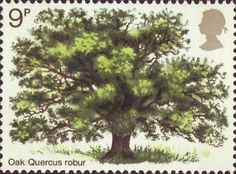 9p, Oak Tree from British Trees (1st Issue) - The Oak (1973)