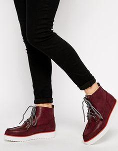 ASOS ANTHEM Flatform Ankle Boots - Oxblood