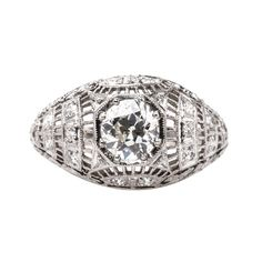 Byron Bay is a stunning Edwardian era engagement ring centering a 0.78ct diamond in a bombe style setting! // $6,200