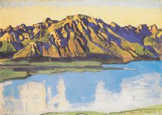 The Grammont in the morning sun - Ferdinand Hodler