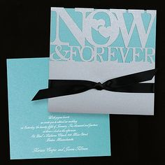 Now and Forever Invitation - Silver with Lagoon Shimmer weddingneeds.carlsoncraft.com
