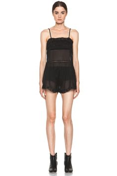 Etoile Isabel Marant- Greg Cotton Voile and Lace Romper in Noir