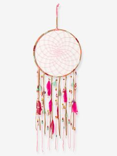 According to Indian legend, the dreamcatcher traps bad dreams while the good ones pass through and slide down the feathers to the sleeper. Besides being a beaut Safari Theme Nursery, Nursery Themes, Themed Nursery, Nursery Decor, Kids Room Accessories, Doll Accessories, Star Garland, Bunting Garland, Decorative Storage