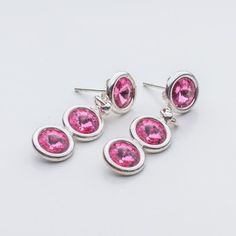 Swarovski Rivoli Earrings 6/6/6mm Rose  Dimensions: length: 3,2cm stone size: 6mm Weight ( silver) ~ 3,30g ( 1 pair ) Weight ( silver + stones) ~ 3,95g Metal : sterling silver ( AG-925) Stones: Swarovski Elements 1122 SS29 ( 6mm ) Colour: Rose 1 package = 1 pair  Price 9 EUR Sterling Silver Earrings Studs, Diamond Earrings, Silver Jewelry, Stud Earrings, Swarovski, Crystals, Rose, Stones, Colour