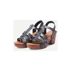 Silver Crocodie Emobossed Caged Wooden Heel Sandals ($17) ❤ liked on Polyvore featuring shoes, sandals, wood heel shoes, silver shoes, wooden-heel sandals, cage sandals and wooden heel shoes