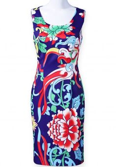 Dark Blue Sleeveless Back Zipper Floral Dress