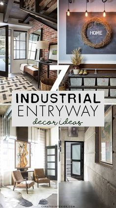 7 Main Industrial Entryway Decor Ideas to know! Industrial Interior Design, Industrial Interiors, Industrial House, Entryway Console, Entryway Decor, Metal Furniture, Industrial Furniture, Brown Leather Chairs, Painted Brick Walls