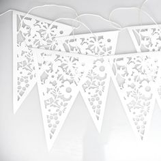 I've just found White Lace Paper Bunting. 8 metres of pretty, white paper lace patterned bunting, perfect for weddings, baby showers and Christenings. . £10.00