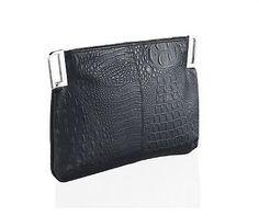 Ladies Evening Bag  Black  Crocodile Clutch Bag with Silver Keyhole Corners £14.99