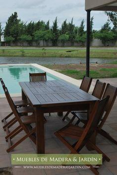 mesa y sillas de madera para patios