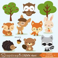 New baby animals clipart woodland creatures ideas Jungle Animals, Forest Animals, Woodland Animals, Baby Animals, Cute Animals, Woodland Theme, Woodland Baby, Woodland Nursery, Jungle Clipart
