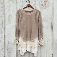 Spool 72 Sweaters - Skyline Lace Sweater in Sand
