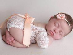 CHOOSE ribbon color colors) for this Newborn Lace Romper AND/OR flower headband, photoshoot, unlined, bebe foto, by Lil Miss Sweet Pea Newborn Fotografia, Foto Newborn, Baby Girl Newborn, My Baby Girl, Newborn Photo Outfits, Newborn Photo Props, Baby Outfits, Unisex Baby Names, Boy Names