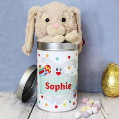 Personalised easter gifts easter gifts for kids personalised personalised bunny in easter tin the hut market personalised gift shop negle Image collections