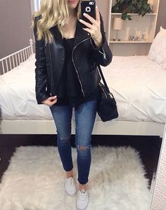 Leather jacket outfit / casual keds outfit