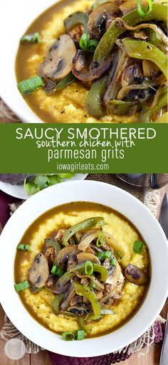 Saucy Smothered Southern Chicken with Parmesan Grits is a quick and mouthwatering, healthy yet decadent-tasting dinner! #glutenfree | iowagirleats.com