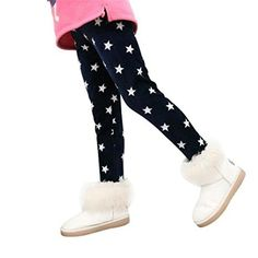 Winter Girls Leggings,Buedvo Cute Stars Print Fleece Lined Footless Christmas Gift Pants (5-6Years, Navy)