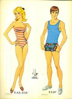 Barbie and Ken paper dolls 1970