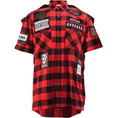 Maison Mihara Yasuhiro checked patch shirt ($1,135) ❤ liked on Polyvore featuring men's fashion, men's clothing, men's shirts, men's casual shirts, red, mens checkered shirts, mens red checkered shirt, mens elbow patch shirt and mens checked shirts
