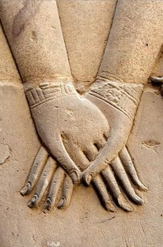 Hathor Holding Nefertari's Hand. Symbolizes the union of the upper ...
