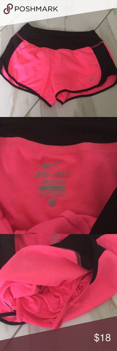 Hot pink nike shorts XS  Excellent condition  Too small on me, one of my favorites, wish it wasn't so small! 100% polyester Underwear lining Nike Shorts