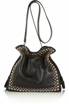 Loewe|Flamenco 30 studded textured-leather shoulder bag|NET-A-PORTER.COM
