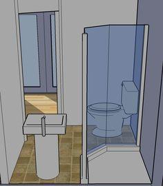 Tiny Simple House is off the Back Burner – TinyHouseDesign Tiny House Bathroom, Bathroom Renos, Small Bathroom, Bathroom Layout, Bathroom Storage, Bathroom Ideas, Home Suites, Upstairs Bathrooms, Basement Bathroom