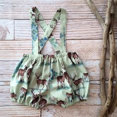 woodland deer baby girl romper bloomers