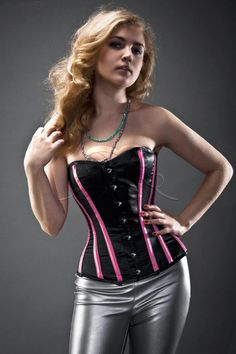 Black and pink satin steel-boned overbust authentic corset. Bespoke made to your measurements Pink Corset, Sexy Corset, Leather Lingerie, Leather Corset, Leather Pants, Satin Rose, Pink Satin, Steam Punk, Corset Costumes