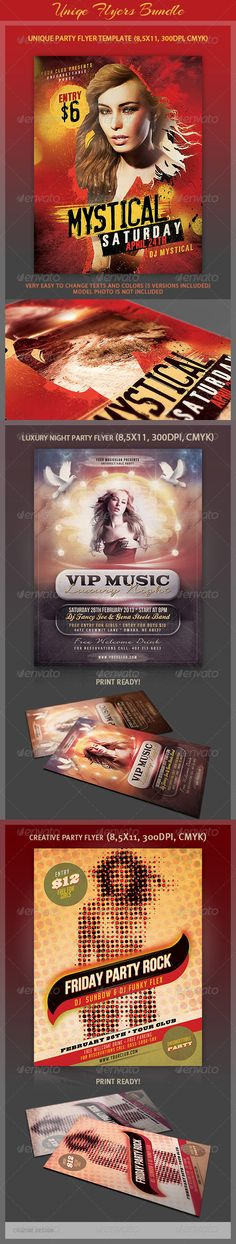 Flyers Bundle  #GraphicRiver         3 Creative style and unique flyers for your next party or project. The final package you download includes a fully layered, renamed, grouped PSD file.  	 This pack includes 3x PSD files:  	 1. Unique Party Flyer – graphicriver /item/unique-party-flyer/4291645  	 2. Luxury Night Party Flyer – graphicriver /item/luxury-night-party-flyer/3933677  	 3. Creative Party Flyer Template – graphicriver /item/creative-party-flyer-template/3697981  	 Size: 8.5×11…