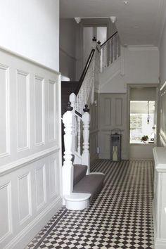 b/w tile love 1930s Hallway, Foyer, Entryway, Tiled Hallway, Tile Floor, Tiles, Stairs, Cottage, House Design