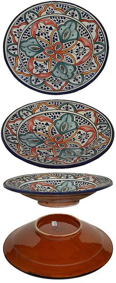 Decorative Plates and Bowls 36019 Moroccan Ceramic Plate Handmade Pasta Bowl Serving Wall Hanging 14Inches  sc 1 st  Pinterest & Decorative Plates and Bowls 36019: Multi Onyx 12-Inch Classic Design ...